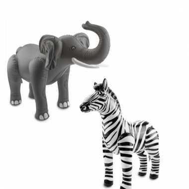 Opblaasbare olifant en zebra set