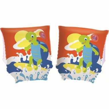 Opblaasbare oranje zwemvleugels met schildpad voor kinderen