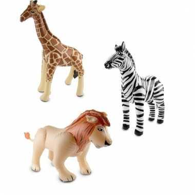 Opblaasbare zebra leeuw en giraffe set