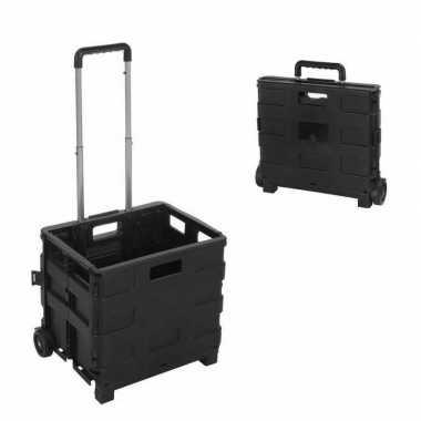 Opvouwbare reis/ boodschappen trolley met krat 40 liter