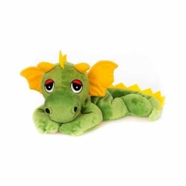 Opwarmbare knuffel groene draak 18 cm