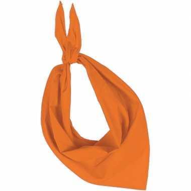 Oranje basic bandana/hals zakdoeken/sjaals/shawls voor volwassenen