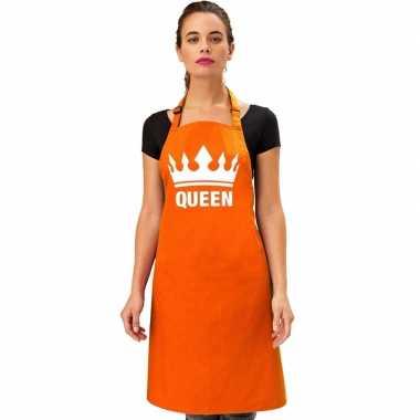 Oranje bbq queen schort/ keukenschort met kroon dames