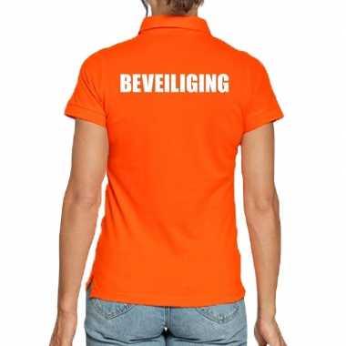 Oranje beveiliging polo t-shirt voor dames