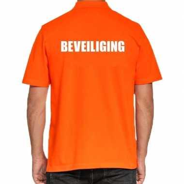 Oranje beveiliging polo t-shirt voor heren