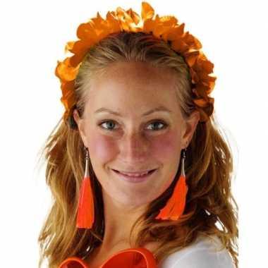 Oranje bloemenkrans verkleedaccessoire diadeem voor dames/volwassenen