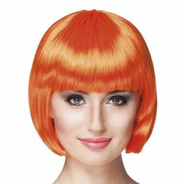 Oranje bob damespruiken