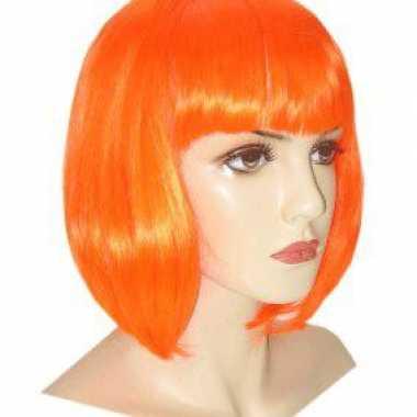 Oranje bob line damespruik