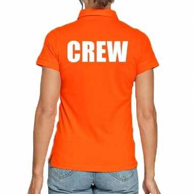 Oranje crew polo t-shirt voor dames
