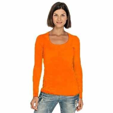 Oranje dames shirt met ronde hals en lange mouwen