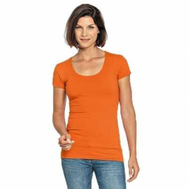 Oranje dames shirt met ronde hals