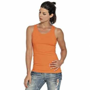 Oranje dames tanktop/singlet basic hemdjes
