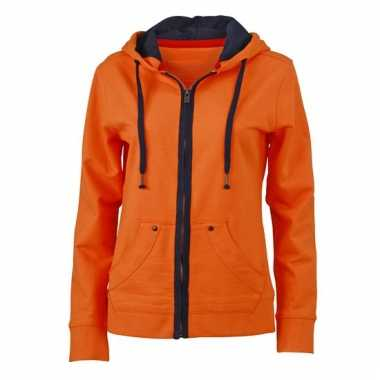 Oranje dames vesten met capuchon
