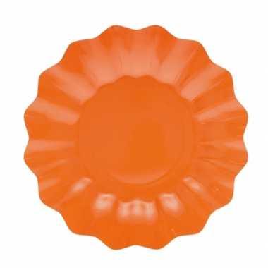 Oranje diepe wegwerp bordjes 21 cm