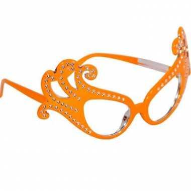 Oranje feestbrillen krul montuur