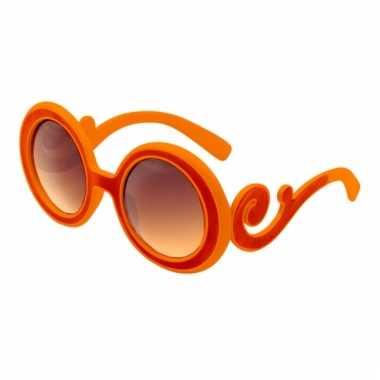 Oranje feestbrillen met krul montuur