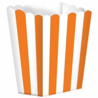 Oranje gestreepte snoepbakjes 10 stuks