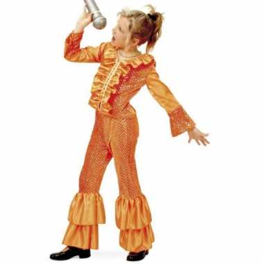 Oranje glitter kostuum voor meisjes