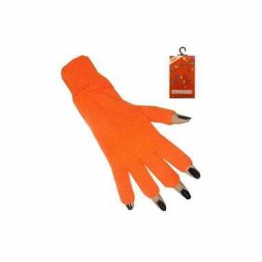 Oranje handschoenen zonder vingers