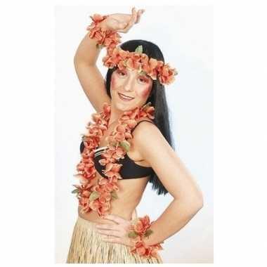 Oranje hawaii bloemenkransen set