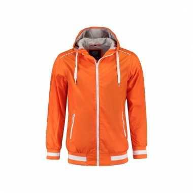 Oranje heren capuchon jasje nylon