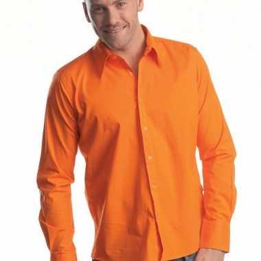 Oranje heren overhemd colors ls