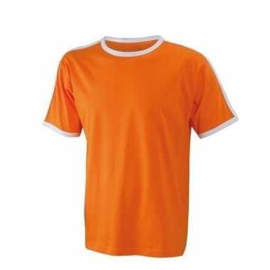 Oranje heren shirt met witte boorden