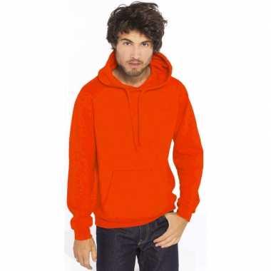 Oranje heren truien/sweaters met hoodie/capuchon