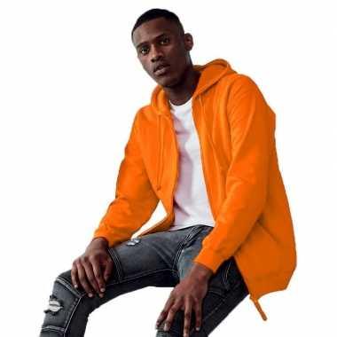 Oranje heren vesten/jasjes met met capuchon/hoodie