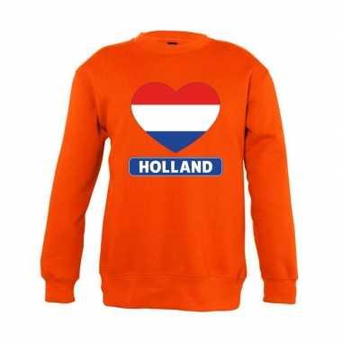 Oranje holland hart vlag trui jongens en meisjes