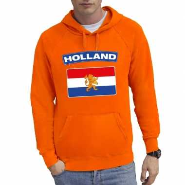 Oranje holland vlag hooded sweater heren