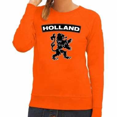 Oranje holland zwarte leeuw trui dames