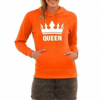 Oranje hooded sweater queen met kroon dames
