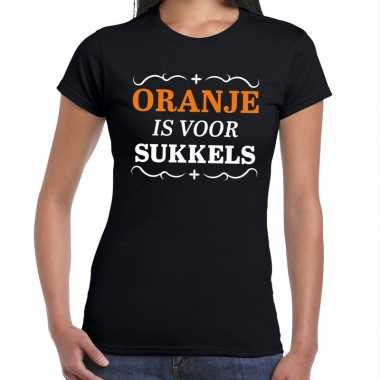 Oranje is voor sukkels shirt zwart dames