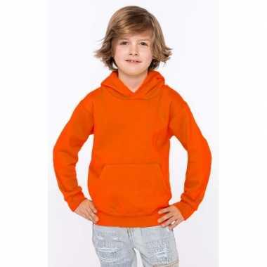 Oranje jongens truien/sweaters met hoodie/capuchon