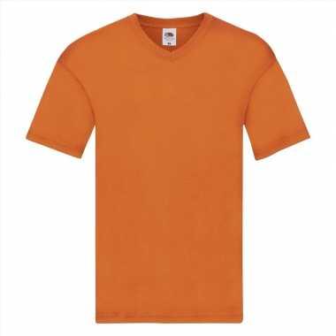 Oranje katoenen heren t-shirts met v-hals