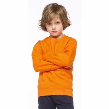 Oranje katoenen sweater zonder capuchon voor kinderen