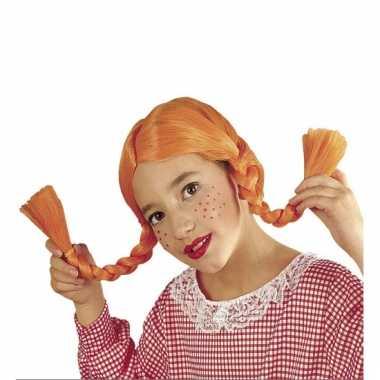 Oranje kinderpruik met vlechten
