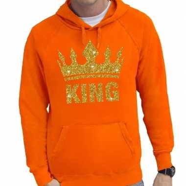 Oranje king gouden glitter kroon hoodie heren