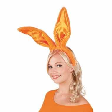 Oranje konijnen/hazen oren op diadeem voor volwassenen