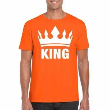 Oranje koningdag king shirt met kroon heren