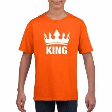 Oranje koningdag king shirt met kroon jongens