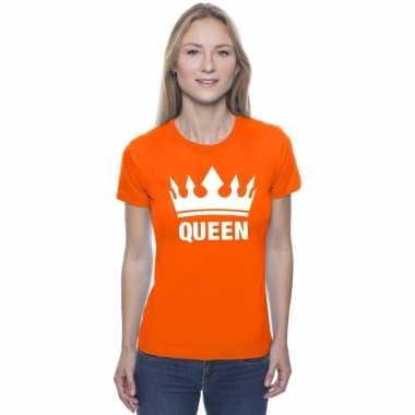 Oranje koningdag queen shirt met kroon dames