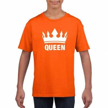 Oranje koningdag queen shirt met kroon meisjes