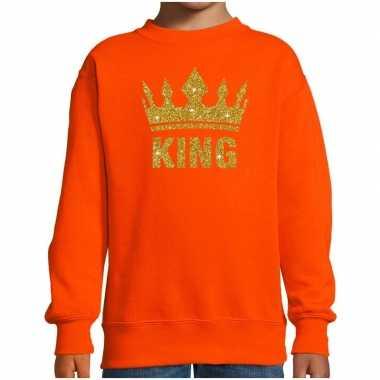 Oranje koningsdag gouden glitter king trui kinderen