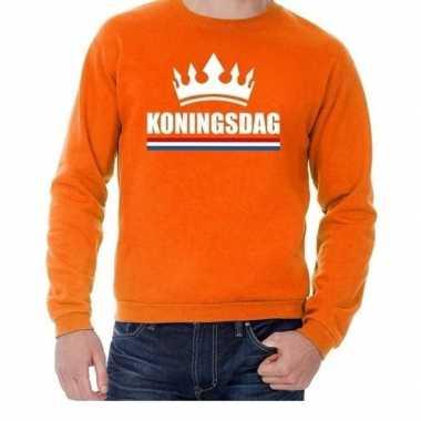 Oranje koningsdag met een kroon trui heren
