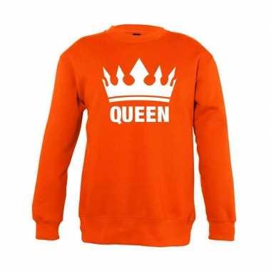 Oranje koningsdag queen trui jongens en meisjes