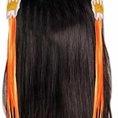 Oranje kroon haarspeldjes met haar