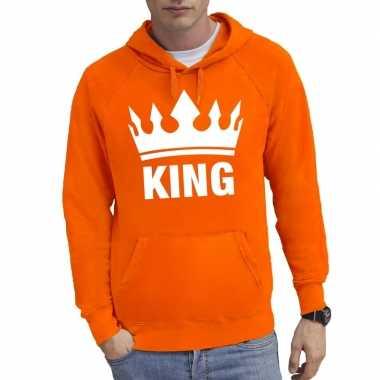 Oranje kroon met king hooded sweater voor heren