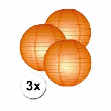 Oranje lampionnen 25 cm 3 stuks